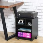 FITUEYES Printer Stand Wood Black Desk Side Mobile 4 Storage with Wheels 40x30x48.5cm PS404001WB