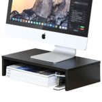 FITUEYES Monitor Stand Wood Black PC Laptop Computer Screen Riser 42.5x23.5x10cm DT104201WB