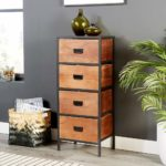Home Source Retro Wooden Narrow Chest of Drawers Metal Handles and Legs