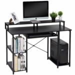 TOPSKY Computer Desk with Storage Shelves/Keyboard Tray/Monitor Stand Study Table for Home Office (Black): Amazon.co.uk: Kitchen & Home