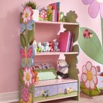 Fantasy Fields - Magic Garden themed Pink Book Case Kids Wooden Bookcase with Storage Drawer| Hand Crafted & Hand Painted Bookshelf | Child Friendly Water-based Paint