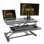 """IMLIB Standing Desk Converter 32""""/80cm Stand Up Desk Riser Height Adjustable Sit to Stand Desk Workstation with Keyboard Tray for Dual Monitors"""