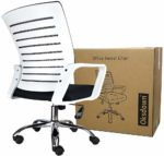 Oksdown Double Backrest Mesh Desk Chair with Arms and Thickened Cushion Height Adjustable Executive Computer Office Chair with Comfortable Lumbar Support Ergonomic Swivel Chair for Home Work (White)