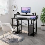 Computer Desk with Shelves - Writing Study Desk with Monitor Stand Shelf/Bookshelves/CPU Stand