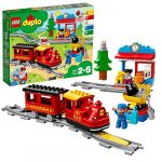 LEGO 10874 DUPLO Town Steam Train Toy for Toddlers and Kids 2-5 Years Old with Track