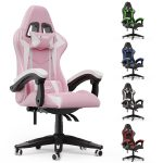 bigzzia Gaming Chair Office Chair Desk Chair Swivel Heavy Duty Chair Ergonomic Design with Cushion and Reclining Back Support (Pink and White)