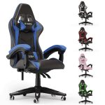 bigzzia Gaming Chair Office Chair Desk Chair Swivel Heavy Duty Chair Ergonomic Design with Cushion and Reclining Back Support (Blue and Black)