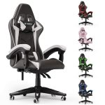 bigzzia Gaming Chair Office Chair Desk Chair Swivel Heavy Duty Chair Ergonomic Design with Cushion and Reclining Back Support (Black and white)