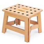 """Jiodux Non-Slip Foldable Wooden Step Stool 8""""(H) Kitchen Stepping Stools"""