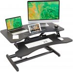 Lubvlook Height Adjustable Stand up Desk Converter – 83cm (32.6Inch) Desk Riser with Keyboard Tray