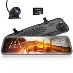 """WOLFBOX 12"""" Mirror Dash Cam Front and Rear Camera"""