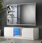 MMT RTV1400 White TV Stand Cabinet Unit with LED Lights 40 59 50 55 60 65 inch 4k TV 140cm wide