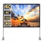 Projector Screen with Stand 80 inch 16:9 HD 4K Outdoor Indoor Projection Screen for Home Theater 3D Fast-Folding Projector Screen with Stand Legs and Carry Bag Projection Movie Wrinkle-Free